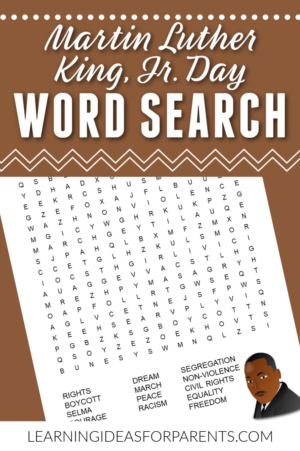 Free printable Martin Luther King, Jr. word search for kids.