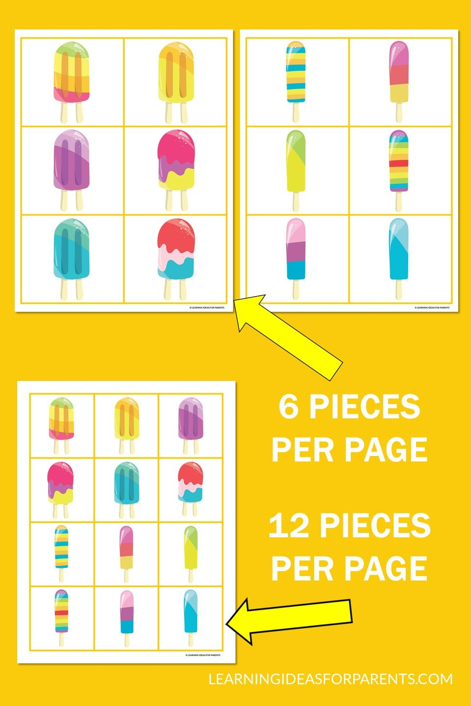 Free printable popsicle memory game for kids. Example pages.