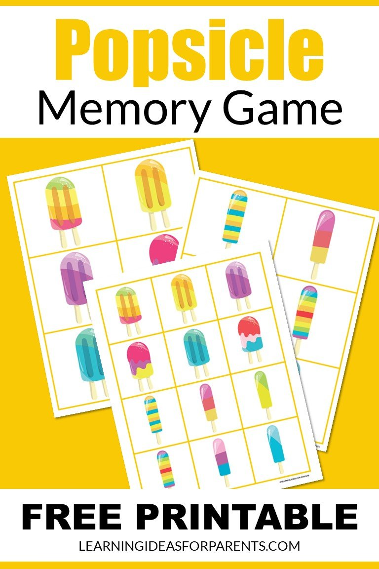Popsicle Memory Game Free Printable