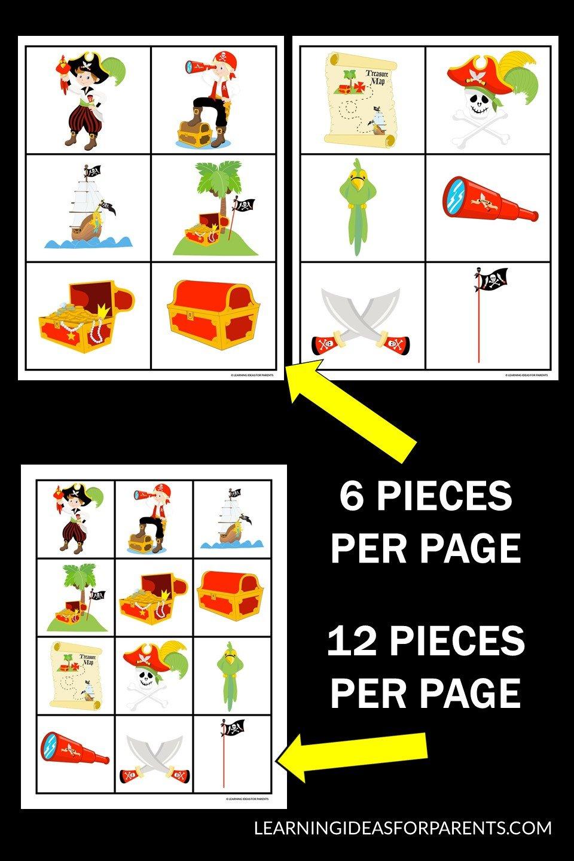 Free printable pirate memory game for kids.