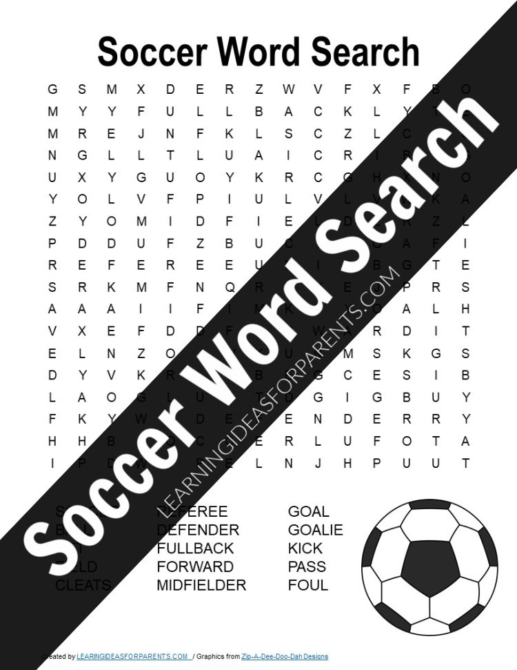 Free printable soccer word search for kids.