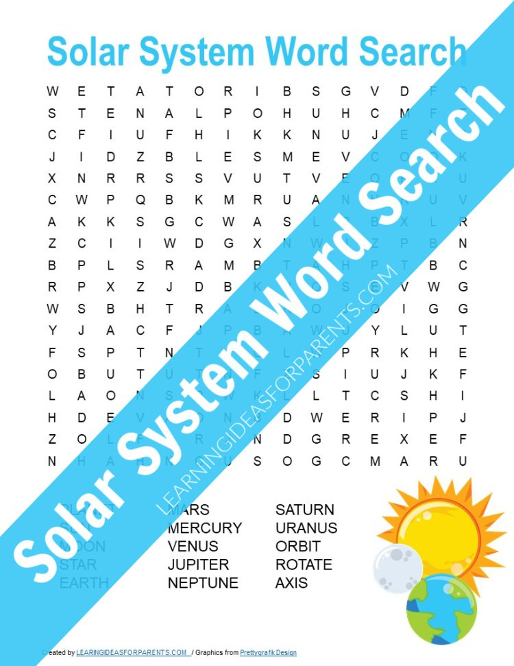Solar System Word Search Free Printable