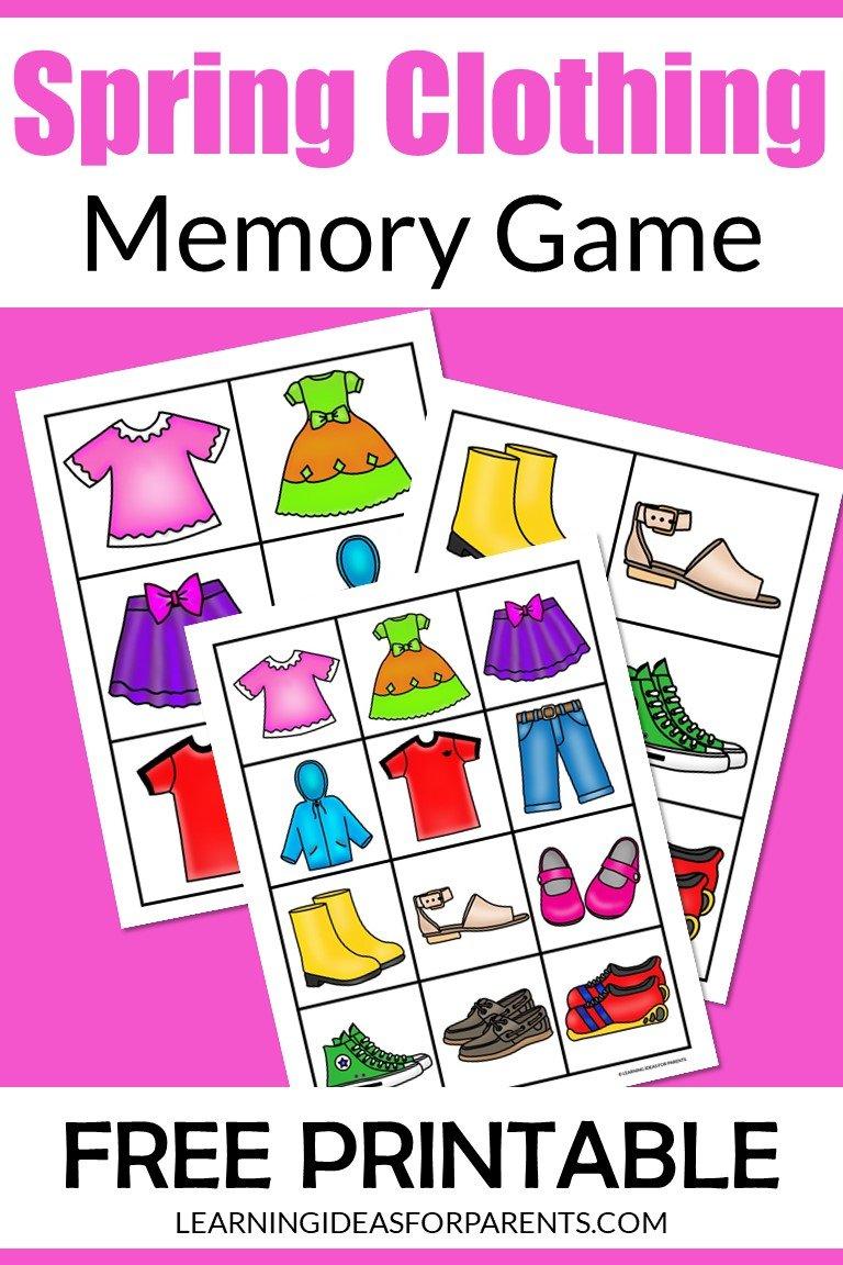 Free printable spring clothing memory game for kids.