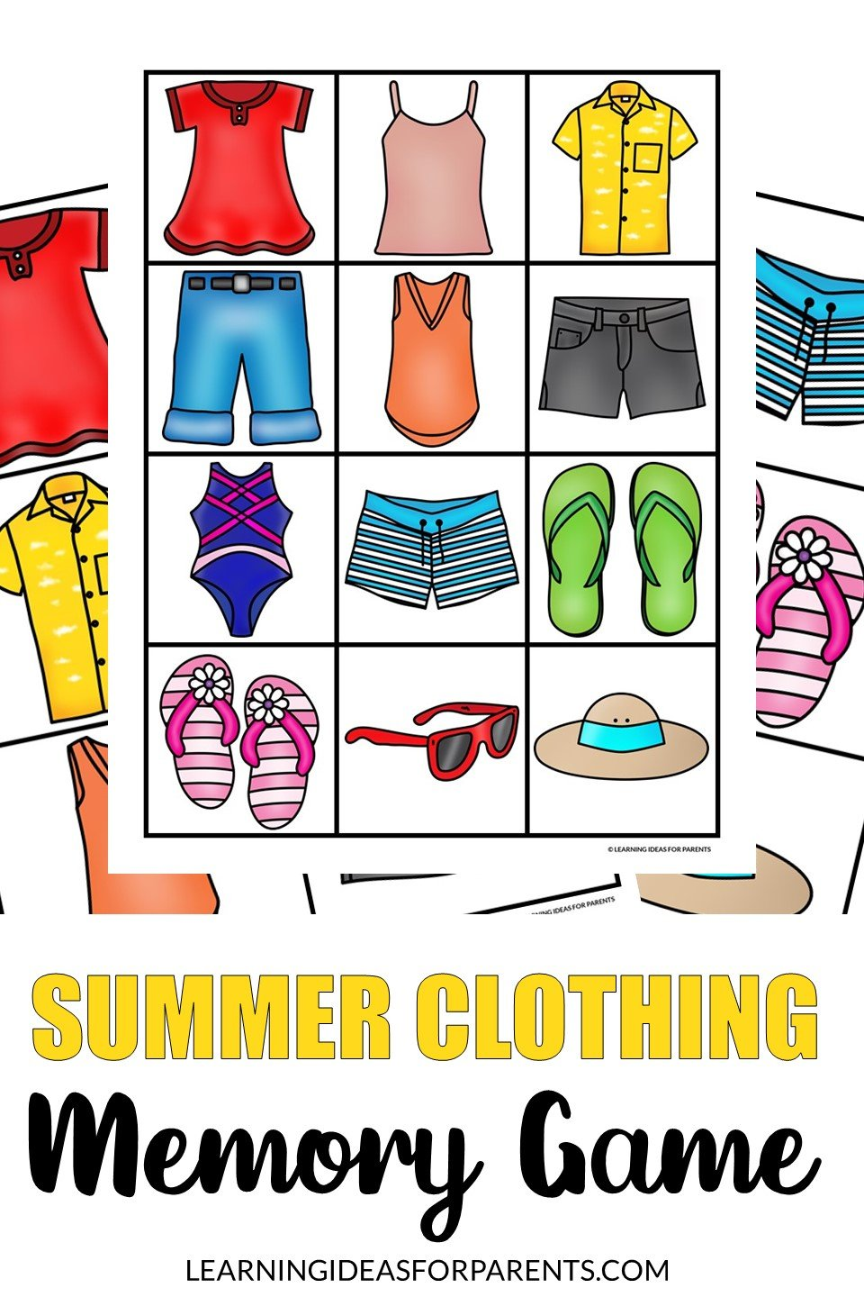 Free printable summer clothing memory game for kids.