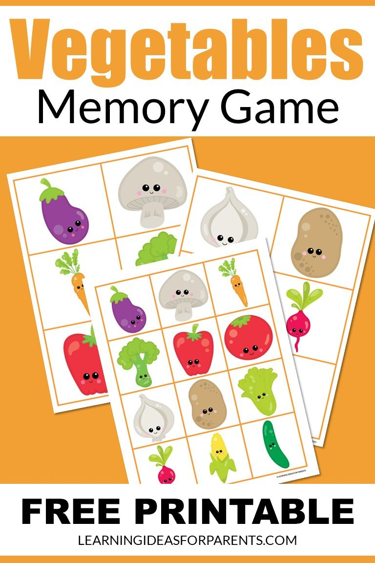 Free printable vegetables memory game for kids.