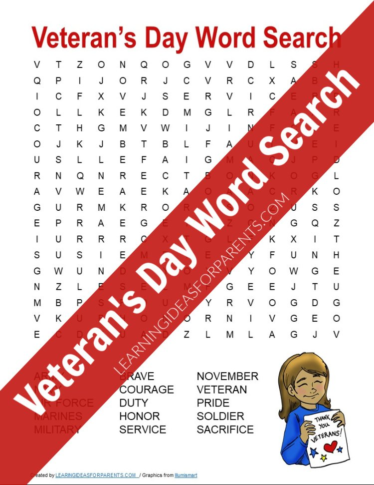 Free printable Veteran's Day word search for kids.