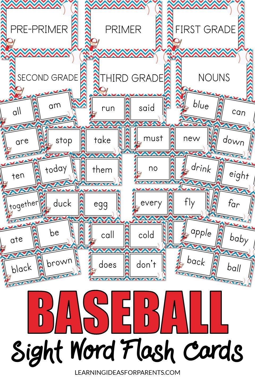 Printable baseball themed sight word flash cards